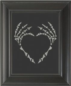 Skeleton Finger Heart - Cross Stitch Pattern Chart