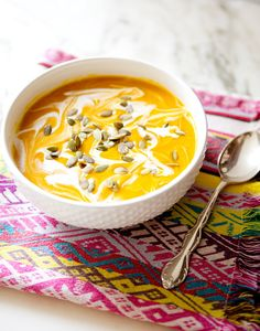 curried pumpkin and butternut squash soup – I also added a dash of ginger powder and nutmeg for extra flavor