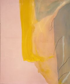 "Helen Frankenthaler, ""Spiritualist"", 1973, Acrylic on canvas, 72 x 60 in.  A primary example of Frankenthaler's soak-stain technique. Abstract Expressionists like Pollock and de Kooning inspired Frankenthaler's freewheeling use of non-representational color and line. Chance and control blended together in her hands, resulting in a new kind of two-dimensional plane, where the grain of the canvas and its qualities were as pertinent as those of the poured paint."