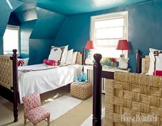 teal bedroom bee cottage HB  love the webbing on the old head and foot boards