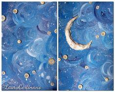 Tutorial: un cielo da fiaba con acrilici e bottoni - I colori di Laura Projects For Kids, Art Projects, Do Anything, Tutorial, Arts And Crafts, San, Watercolor, Nature, Decor