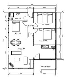 Plano 3 Casa de Madera Mexico Bungalow Floor Plans, Home Design Floor Plans, Bungalow House Design, House Floor Plans, Porch House Plans, Family House Plans, Tiny House Plans, Two Story House Design, Small House Design