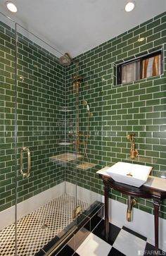 green tile, use as accent color? Dark Green Bathrooms, Green Bathroom Tiles, Green Subway Tile, Bathroom Interior Design, Tile Design, Bathroom Inspiration, Interior And Exterior, Decoration, House Design