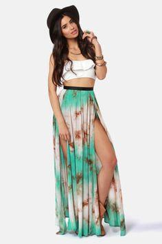 Gypsy Junkies Oceana High Slit Tie-Dye Maxi Skirt