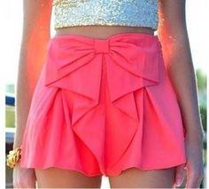 shorts shorts bow skirt pink skirt top skort love need this help tank top gold crop top gold glitter crop top skirt glitter Look Fashion, Teen Fashion, Womens Fashion, Fashion 2014, Asian Fashion, Fashion Trends, Fashion Beauty, Rosa Rock, Bow Skirt