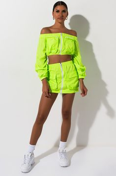 Sporty, zip up mini skirt by AKIRA. Neon Outfits, Cute Lazy Outfits, Crazy Outfits, Stylish Outfits, Summer Outfits, Girl Outfits, Chic Fall Fashion, 80s Fashion, Fashion Outfits