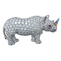 Oscar Heyman for Hamilton Jewelers Diamond platinum rhinoceros brooch | From a unique collection of vintage more jewelry at https://www.1stdibs.com/jewelry/more-jewelry-watches/more-jewelry/