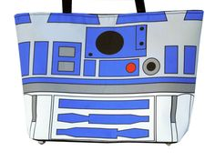 Large Printed Star Wars R2D2 Handbag with Silver Studded Hardware and Snap Closure. via Etsy.