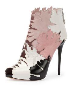 Alexander McQueen Leaf Cutout Open-Toe Ankle Boot, Multi Colors