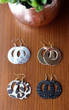 Round Leather Earrings Handmade Leather Earrings Sterling