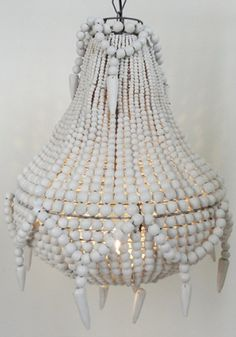 Handmade beaded chandelier, White from www.bodieandfou.com