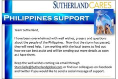 #sgscares #Philippines - Join us in supporting the Philippines on Twitter and Facebook! Twitter: sgs_careers; Facebook: Careers at Sutherland Global Services.