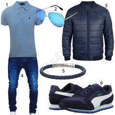 Blaues Herrenoutfit mit Poloshirt, Steppjacke und Puma's (m1043)