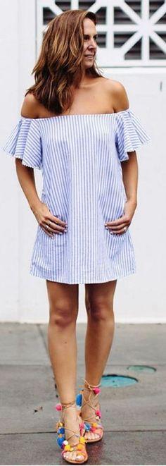 #spring #summer #highstreet #outfitideas |OTS Little Stripe Dress + Multi Pom Pom Sandals                                                                             Source