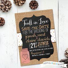 Save the Date Chalkboard Burlap Mason Jar Invite - fall in love invites, burlap chalkboard invites, wedding birthday baby shower invite