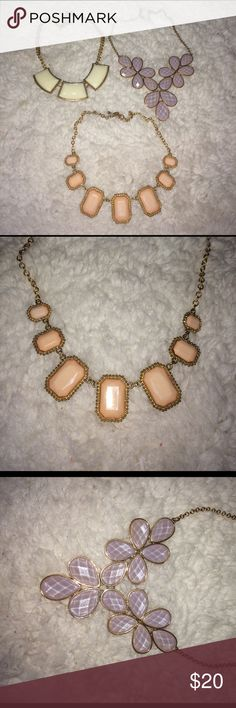 Necklace bundle Three necklaces used. Cream and gold, light purple and gold and a light peachy color and gold. Accessories