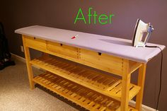 Ikea table into ironing board! Love it. So much prettier than an ironing board in the craft room