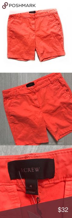 "NWT J Crew Orange Bermuda Shorts Bright orange (coral) neon J. Crew shorts. Longer with 7"" inseam. Front and back pockets. New. Size 4. 98% cotton 2% elastane. J. Crew Shorts"
