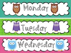 owl classroom decorations | Classroom Calendar Signs, with all 12 Months & 7 Days all Owl'ed ...
