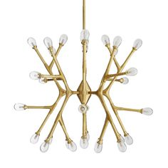Science meets structure with the molecular geometry form of this chandelier. The antique brass steel frame features multiple arms configured in opposing linear fashion, each housing a clear, seedyglass globe over a LED light for a total of A brilli Antique Brass Chandelier, Luxury Chandelier, Chandelier Ceiling Lights, Luxury Lighting, Modern Chandelier, Molecular Geometry, G4 Led, Shops, Glass Material