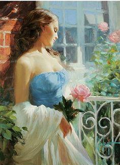 """Romantic Mood"" by Vladimir Volegov, painting, cm, oil on canvas Woman Painting, Figure Painting, Art Magique, Double Exposition, Romantic Mood, Ecole Art, Russian Art, Beautiful Paintings, Figurative Art"