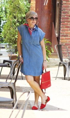 Casual and chic chambray dress with red accessories.