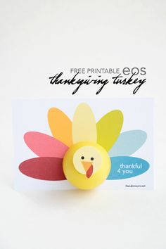 Create this fun Printable Thanksgiving Turkey to give to friends and family for a fun Thanksgiving Gift idea! FREE Printable Turkey for your eos lip balm. From MichaelsMakers The Idea Room