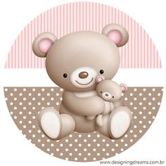 Pink and Brown Teddy Bear Stickers - baby shower gifts party giftidea Shower Party, Baby Shower Parties, Shower Gifts, Box Templates Printable Free, Scrapbook Bebe, Minnie Mouse Mug, Teddy Bear Party, Baby Shower Clipart, Brown Teddy Bear