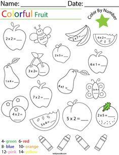 Multiplication Worksheets, Kids Prints, Grade 2, Noodle, Numbers, Have Fun, Parenting, English, Fruit
