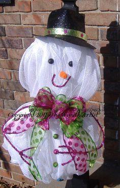 Christmas Wreath  SNOWMAN WREATH  Deco Mesh by HomeTownHolidays, $49.00