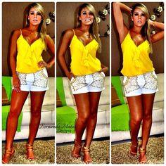 Instagram media by fefemattos - Bom dia Meninasssss  Blusa com babado Amarela, Preta e Laranja.... Shorts bordado Branco  VENDAS  1⃣fernandamatos@fernandamatos.com 2⃣Whatsapp 19-998807101 3⃣FanPage Fernanda Matos Boutique Instagram fefemattos