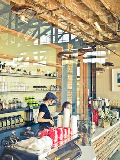 Cafe Shop Design Ideas for New Lifestyle : Modern Verve Roastery Design Interior With Transparent Wall Shelving