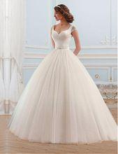 Vestido de noiva 2017 Sexy da Luva do Tampão Do Vestido de Casamento vestidos de noiva vestido de Baile Vestidos de Noiva Zipper Voltar Casamento de Luxo vestido alishoppbrasil