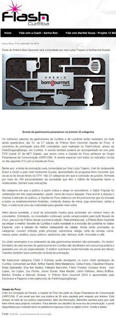 Flash Curitiba Festa do Prêmio Bom Gourmet será comandada por Ana Luiza Trajano e Guilherme Guzela