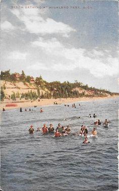Beach Bathing at Highland Park Grand Haven MI PM 1913   eBay