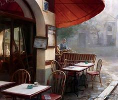 La Boheme by Andrei Krioutchenko // Photo Realistic Oil Acrylic Painting Artwork Poster Print of Classic Historical Parisian French Bohemian Style Cafe Bar from Paris, France. France Cafe, Paris France, Different Art Styles, Poster Prints, Art Prints, Posters, Urban Art, Art For Sale, Find Art