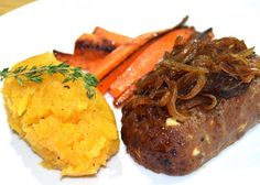 Caramelised Onion Meatload with Roasted Carrots and Mash