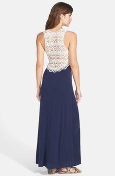 FELICITY & COCO Crochet Back Jersey Maxi Dress (Regular & Petite) (Nordstrom Exclusive)   Nordstrom
