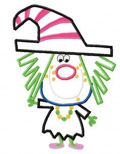 Cute Witch Applique Machine Embroidery Design by EmbroideringQueen, $2.49