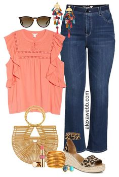 Plus Size Boho Spring Outfit with coral top, bootcut jeans, bamboo bag, leopard espadrille sandals, and statement earrings - Alexa Webb Source by alexandrawebb spring outfits Look Plus Size, Plus Size Kleidung, Plus Size Fashion For Women, Looks Style, Fashion 2020, Women's Fashion, Spring Summer Fashion, Boho Spring Outfits, Models