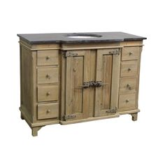 """Reclaimed Pine Single Breakfront Bath Vanity Wash Finish Natural Asian Blue Stone Top Under-Mounted Porcelain Sink  Single Pre-Drilled Faucet Hole 48W x 23D X 36H with 2"""" Stepback"""