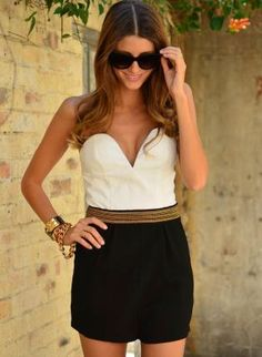 white and black romper #playsuit #fallfashion #colorblock