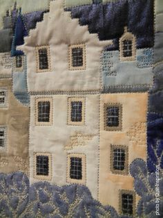 Fantasy in the Style of George Birrell by Stephanie Crawford (UK).  Closeup photo by Quilt Inspiration: Tiny Houses and Miniature Landscape Quilts