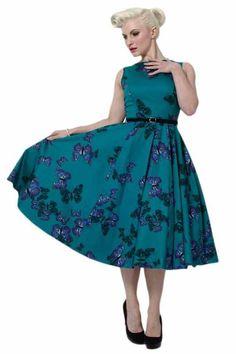Lady V London Retro Vintage Teal Green Butterfly Hepburn Dress
