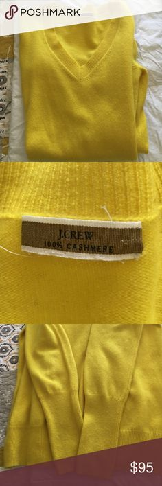 J Crew 100% Cashmere Sweater Soft gorgeous yellow Cashmere Swearer . V neck with a wide band at the bottom ,bands also on the bottom of the sleeves . One of J Crews most classic items . J Crew Sweaters V-Necks