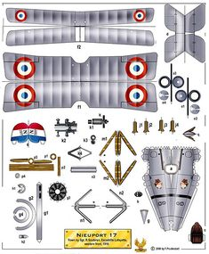 Nieuport 17   by amphalon Paper Airplane Models, Paper Model Car, Model Airplanes, Paper Models, Paper Planes, Paper Aircraft, Paper Folding, Origami Paper, Paper Toys