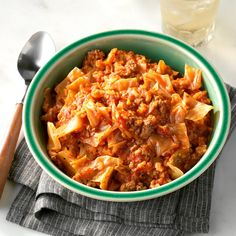 NOTE TO SELF: Sub riced cauliflower for the long grain rice. Soup-Bowl Cabbage Rolls Recipe -This fabulous alternative to traditional stuffed cabbage rolls is so handy for busy weeknights. It warms you up from head to toe. Home Recipes, Beef Recipes, Dinner Recipes, Cooking Recipes, Healthy Recipes, Recipies, Hamburger Recipes, Turkey Recipes, Veggie Recipes