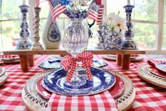 Whether you are hosting a barbecue or holiday event, here are some ideas for a red, white and blue tablescape by pattern mixing holiday prints and colors! Table Centerpieces, Table Decorations, 4th Of July Decorations, Pattern Mixing, Cool Patterns, Holidays And Events, One Color, Fourth Of July, Memorial Day