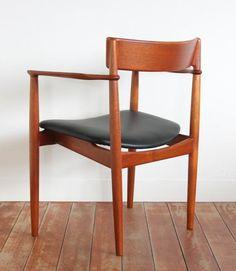 Henry Rosengren Hansen; Teak and Leather Armchair for Brande, 1960s.