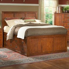 Prairie Mission Pedestal Storage Bed by Mastercraft Collections | Wooden Platform Storage Drawers Bed Frame, Bedroom Furniture